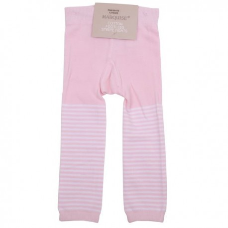 Marquise Girls Footless Cotton Leggings 'Pink & White Stripe' Sizes 0 to 3 yrs