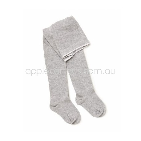 Marquise Cotton Tights 'Grey Marle Ribbed' Sizes 0 to 6 yrs