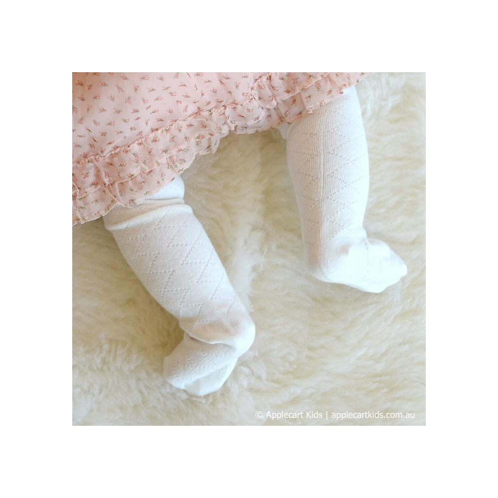 ac326f5b7fa5b ... Marquise Cotton Tights 'Off White Diamond Effect' Newborn, 0-6mths, 6