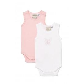 Marquise - 2pk Bodysuit Singlets - Girls Pink/Butterfly 00, 0, 1