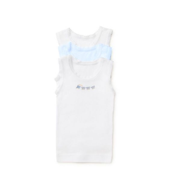Marquise - 3pk Singlets - Boys White/Blue/Trains 000, 00, 0, 1