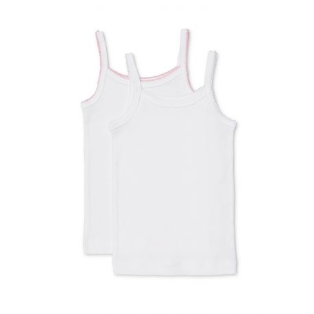 Marquise Girls - 2pk Thin Strap Cotton Singlets 'White & Pink Trim' Kids 2, 3, 4, 5, 6, 7, 8 yrs