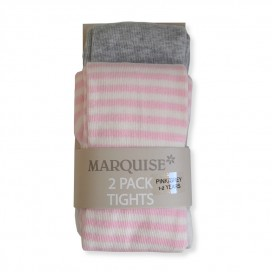 Marquise Cotton Tights Twin Pack 'Grey & Pink' Sizes 0-6, 6-12mths, 1-2, 2-3yrs