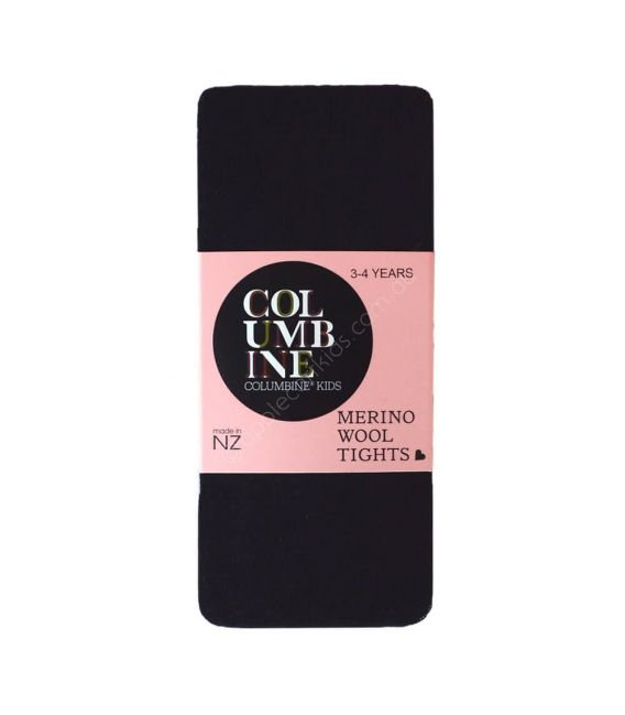 Columbine Merino Wool Tights - Black 3-4, 5-6yrs
