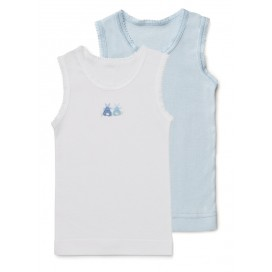 Marquise - 2pk Baby Singlets - Boys White & Blue Bunnies Set