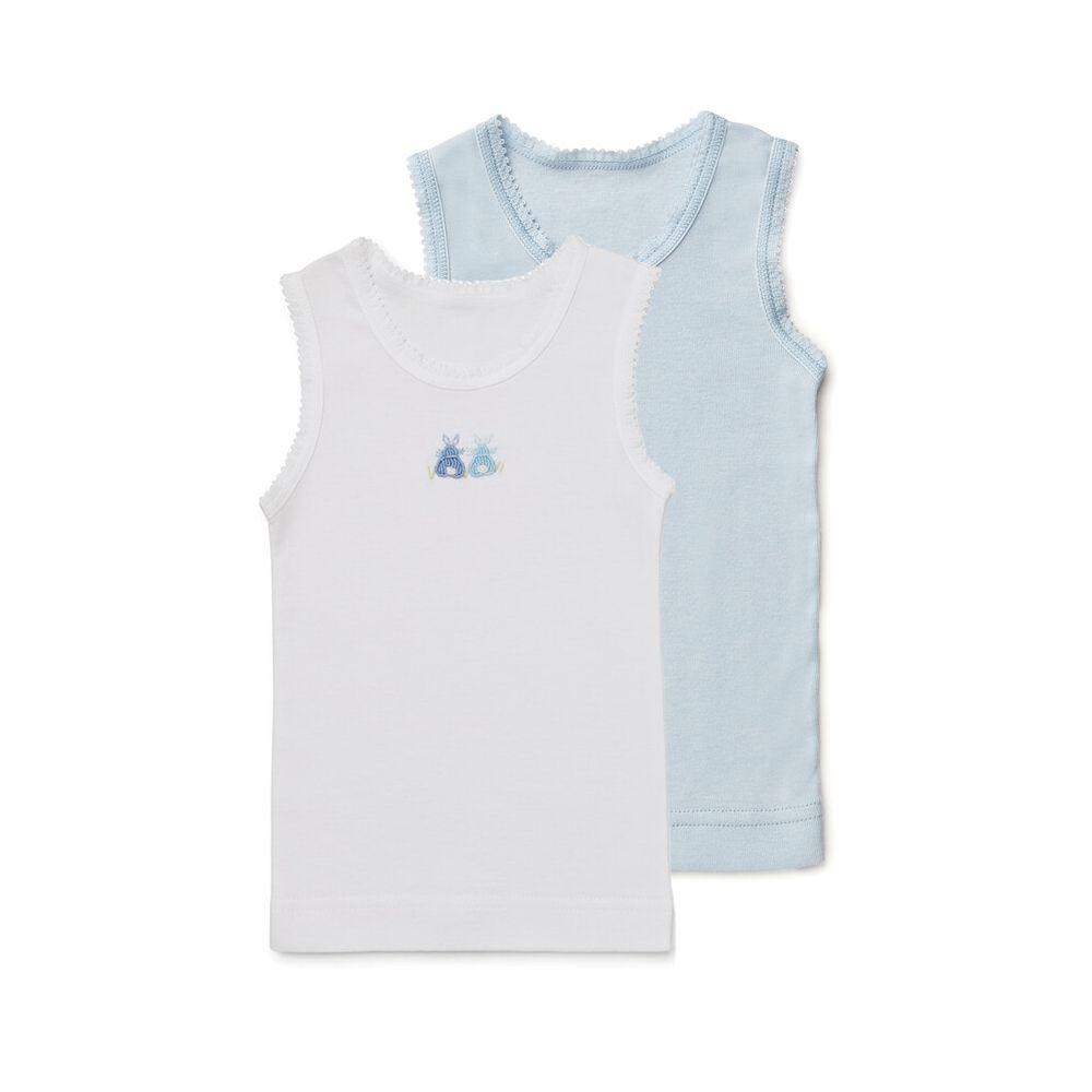 8187d9603cd7 Marquise 2pk Baby Singlets - Boys White   Blue Bunnies Set ...