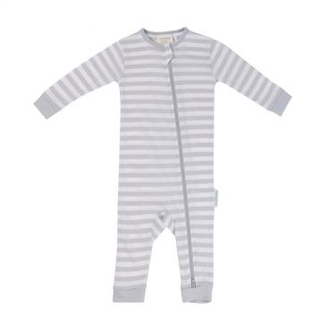 Woolbabe Merino/Organic Cotton Zip-up Sleepsuit (Pebble)