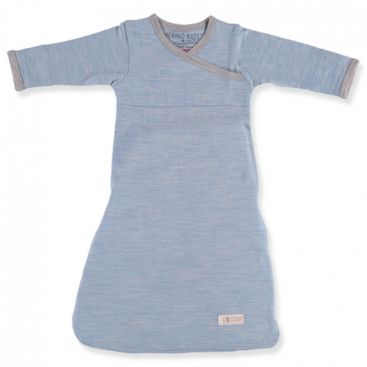 Merino Kids - Cocooi Baby Merino Sleep Gown (NEW Aoraki Sky Blue/Grey)