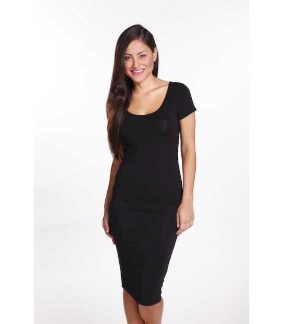 Bamboo Body Women's Essential Scoop Tee (Black)