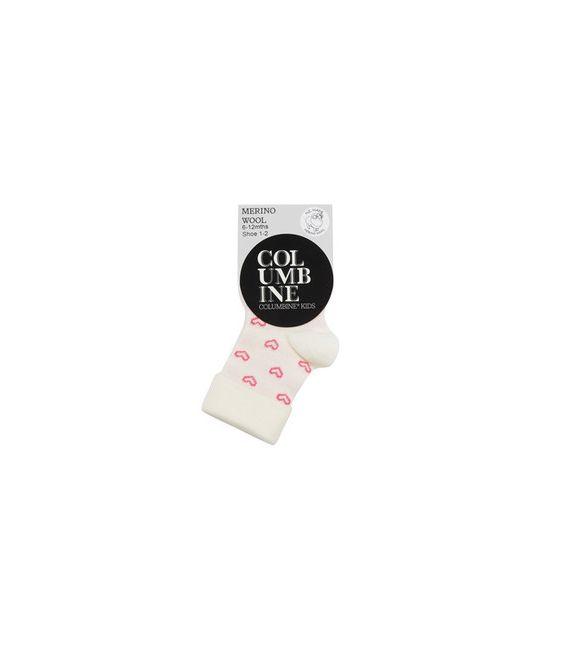 Columbine Merino Wool Baby Cream Heart Fold over top Socks