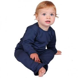 Sweet Cheeks Merino Top and Pants Pyjama Set (Navy)