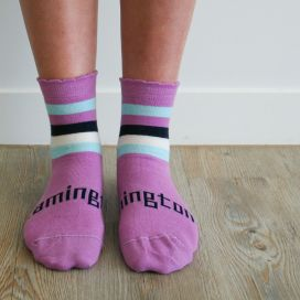 Lamington Merino Wool Kids Crew Socks - Boysenberry