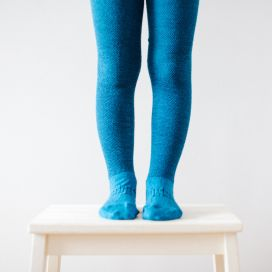 Lamington Merino Wool Textured Tights - Teal