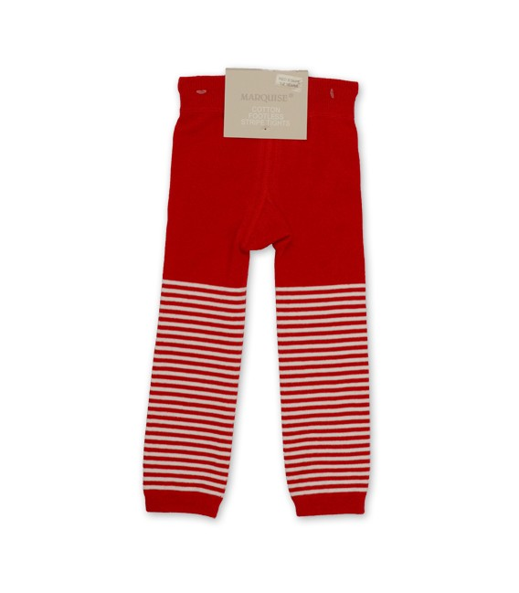 Marquise Footless Cotton Leggings 'Red Stripe' Sizes 0 to 3 yrs
