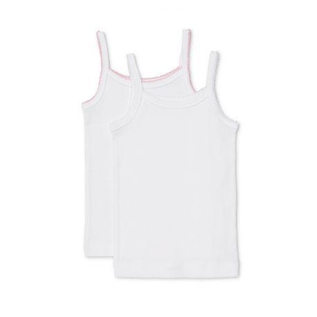 Marquise Girls - 2pk Thin Strap Cotton Singlets 'White & Pink Trim' Kids 2, 3, 4, 5, 6, 7, 8 yrs