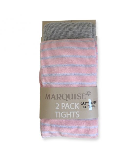 Marquise Cotton Tights Twin Pack 'Grey + Pink/Metallic Silver Stripe' 0-6, 6-12mths, 1-2, 2-3, 4-6yrs