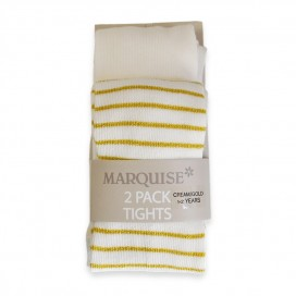 Marquise Cotton Tights Twin Pack 'Cream + Gold Metallic Stripe' 0-6, 6-12mths, 1-2, 2-3, 4-6yrs