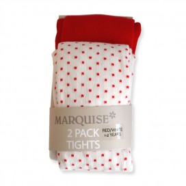 Marquise Cotton Tights Twin Pack 'Red' Sizes 0-6mths, 6-12mths, 2-3yrs