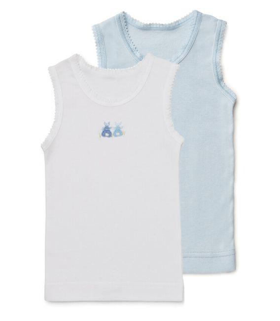 Marquise - 2pk Baby Singlets - Boys White & Blue Bunnies Set