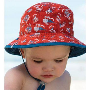 Dozer Baby Boys 'Caleb' Red + Teal Bucket Sun Hat (Reversible)