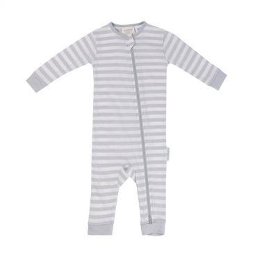 Woolbabe Merino/Organic Cotton Zip-up Sleepsuit (Pebble)