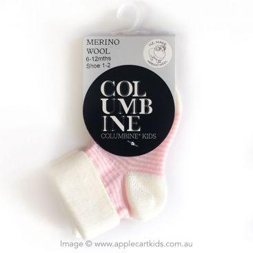 Columbine Fine Merino Wool Fold-Over Baby Sock (Cream/Pink Stripe)