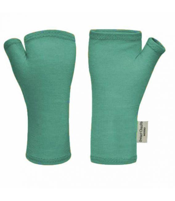 Sweet Cheeks Merino Fingerless Gloves (Teal)