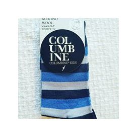 Columbine Merino Wool Kids Crew Navy Blue Stripe Socks
