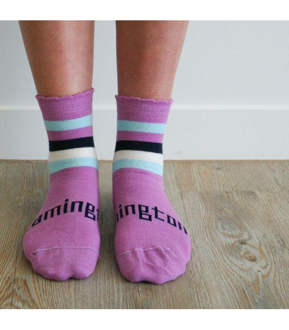 Lamington Merino Wool Kids Crew Socks - Boysenberry