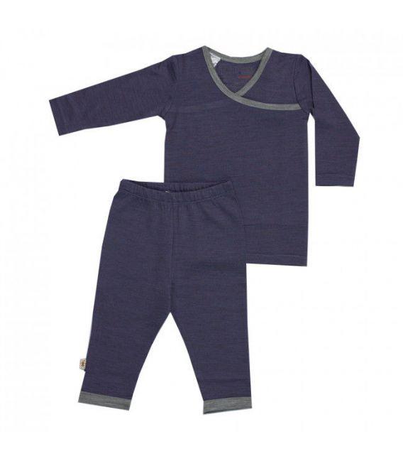 Merino Kids Pyjamas - NEW Denim & Grey