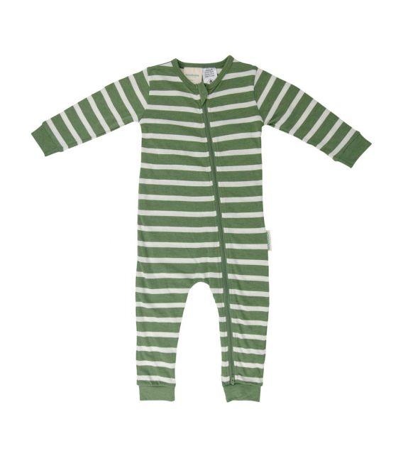 Woolbabe Merino/Organic Cotton PJ Zip Suit - Fern Stripe