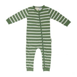 Woolbabe Merino/Organic Cotton PJ Zip Suit - Fern Stripe