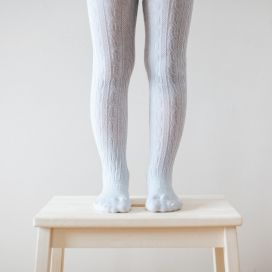 Lamington Girls Merino Cable Tights - Snow Grey