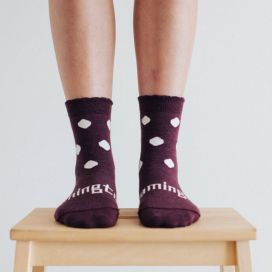 Lamington Merino Wool Womens Crew Socks - Mulberry